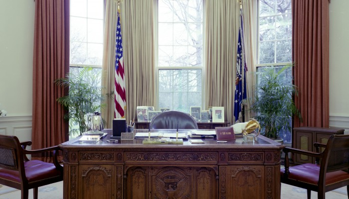 Photograph of Oval Office during Ronald Reagan's Presidency