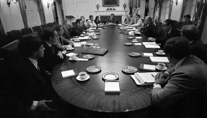 Photograph of President Gerald R. Ford and His Advisers Meeting with Governor Hugh Carey and New York Officials in the Cabinet Room to Discuss the Financial Situation in New York City, 09/02/1975
