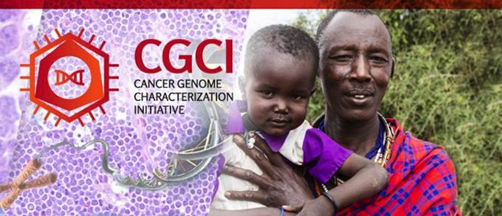Cancer Genome Characterization Initiative banner shows logo, genomics cartoon, and a boy with his dad. Links to program landing page.