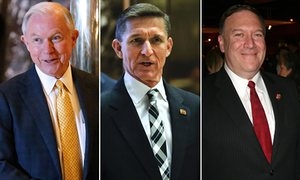 Jeff Sessions, Mike Pompeo and Michael Flynn.
