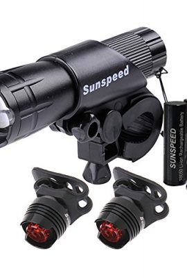 Sunspeed-Rechargeable-LED-Bike-Light-Set-LED-Bright-Headlight-with-FREE-Tail-Safety-Light-Easy-to-Mount-FREE-18650-Batteries-Included-100-No-hassle-Replacement-Guarantee-0