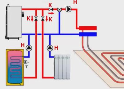 Циркуляция в комбинированой системе воданого отопления