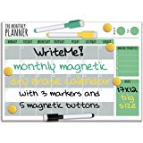 17x12 Magnetic Dry Erase WriteMe Monthly Planner, Board Style for magnetic refrigerator support, Includes 5 magnetic buttons and 3 markers