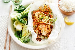 Baked miso fish parcels