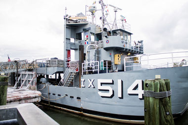 The Baylander, a Vietnam-era decommissioned U.S. Navy ship that was used to train helicopter pilots to land at sea, is moored at 125th Street at the West Harlem Piers in the Hudson River.