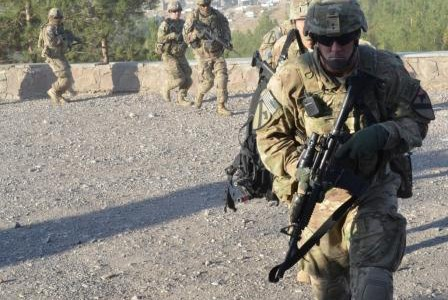 Troopers with Troop A, 4th Squadron, 9th Cavalry Regiment, jog to a waiting UH-60 Blackhawk helicopter during training for protecting the U.S. Consulate at Herat, Afghanistan, Nov. 6, 2013. (U.S. […]
