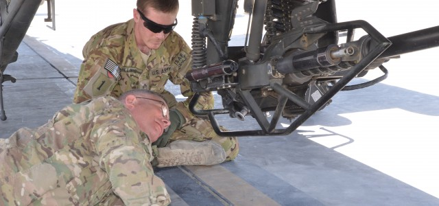 Observing his student, Sgt. Cameron Phillips, an AH-64 Apache armament, electrical and avionics systems maintainer with Task Force Guardians, 1st Combat Aviation Brigade, 1st Infantry Division, shows Maj. Gen. Paul […]