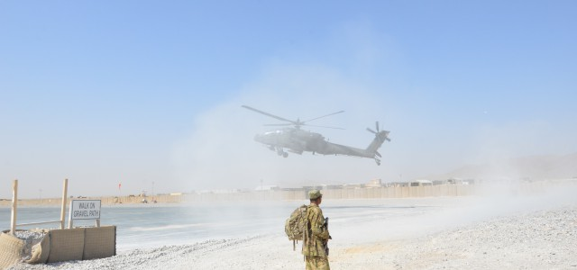 Specialist Daniel Johnson, a petroleum supply specialist with Troop E, Task Force Saber, 1st Combat Aviation Brigade, gets dusted by an AH-64D Apache helicopter practicing landings at Kandahar Airfield, […]