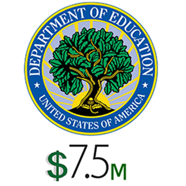 US Department of Education Seal. Seven point five million dollars.