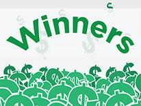 Image of DC Lottery winners with dollar signs
