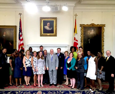 Governor Hogan and the MHEC Staff Congratulate Secretary James D. Fielder, Jr., after his swearing-in at the Maryland State House on July, 26, 2016.