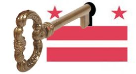 Illustration of a key unlocking dc government flag
