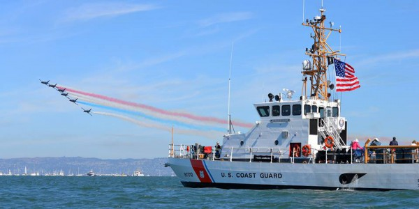The Coast Guard Cutter Hawksbill Hawksbill conducts safety zone enforcement for the San Francisco Fleet Week 2014 Air Show.  U.S Coast Guard photo by Lt. j.g. Evan Wilcox.