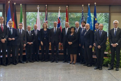 Secretary Johnson and U.S. Attorney General Loretta Lynch stand with other attendees of the G6 Meeting of Interior Ministers.