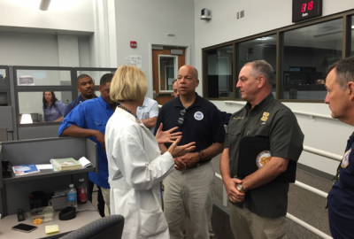 Secretary Johnson is briefed by personnel at the Louisiana Emergency Operations Center