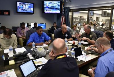 Secretary Johnson at roundtable briefing at Louisiana Emergency Operations Center