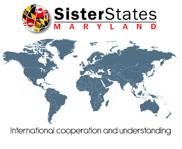 Sister States Maryland logo and world map
