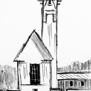 chapel at seaside on white - high 7x10