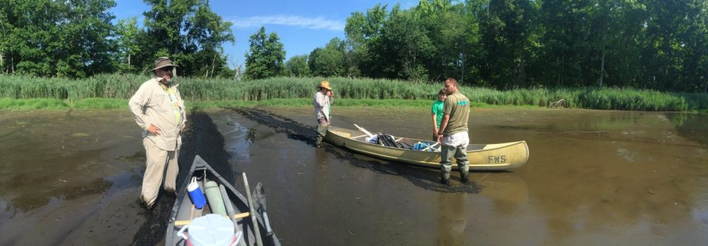 Sometimes sites are not easily accessible. The field crew gears up to canoe to a hard to reach site.