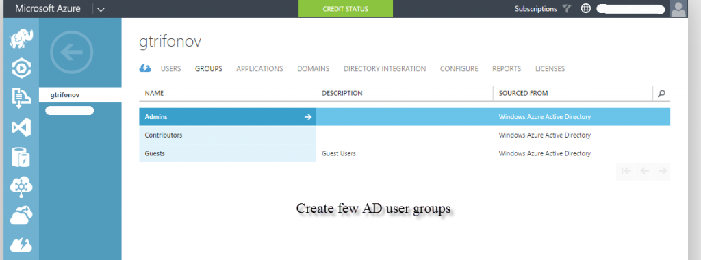 Create Azure AD user Groups