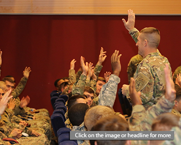 U.S. Army's most senior enlisted leader, Sgt. Maj. of the Army Daniel Dailey, discusses his initiatives with Soldiers of the tenant units located in the Vicenza, Italy area, Nov. 17, 2016 at the post theater on Caserma Ederle.