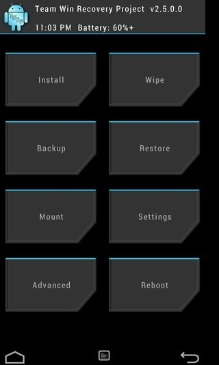 twrp recovery home screen