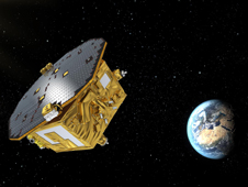 Artist's concept of the European Space Agency's LISA Pathfinder spacecraft