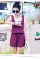 Cheapest Tracksuit Summer Sew Chiffon Piece Pants Female Korean Version Of Casual Shorts And A White T-shirt Slim Straps