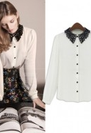 Cheapest Blouses European And American Women'sSpring New Lace Collar Single-breasted Long-sleeved Shirt Solid Color Bl