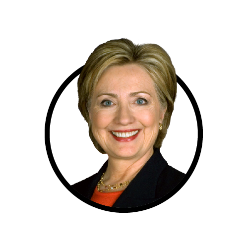 A former first lady of the United States, U.S. senator from New York, and secretary of state under President Barack Obama, Clinton is currently the Democratic presidential nominee in the 2016 election.