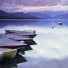 Sunrise on Lake McDonald with Boats, Glacier National Park, Montana