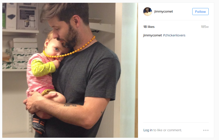 Another strange pic involving a helpless child and a weirdly placed yellow beads neckless. Also, notice the hashtag.
