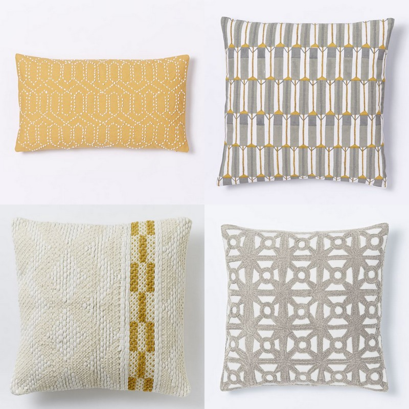 Laurel & Wolf Explains: Scandinavian Style, Laurel & Wolf, From left to right, top to bottom: All West Elm, 1. Jay Street Gantha Pillow Cover $44; 2. Hand-blocked Silk Zip Stripe Pillow Cover $44; 3. Diamond Color Stripe Pillow Cover $59; 4. Modern Crewel Lattice Pillow Cover $34