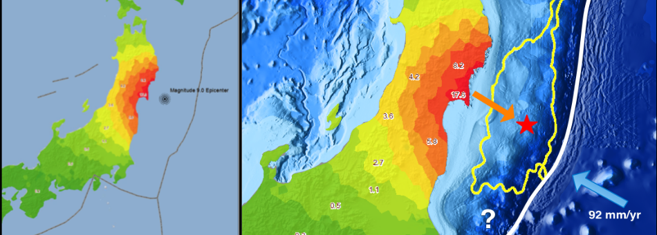 A color map rendering of horizontal  ground deformation rendered as a GIS product for Tohoku-Oki, Japan earthquake