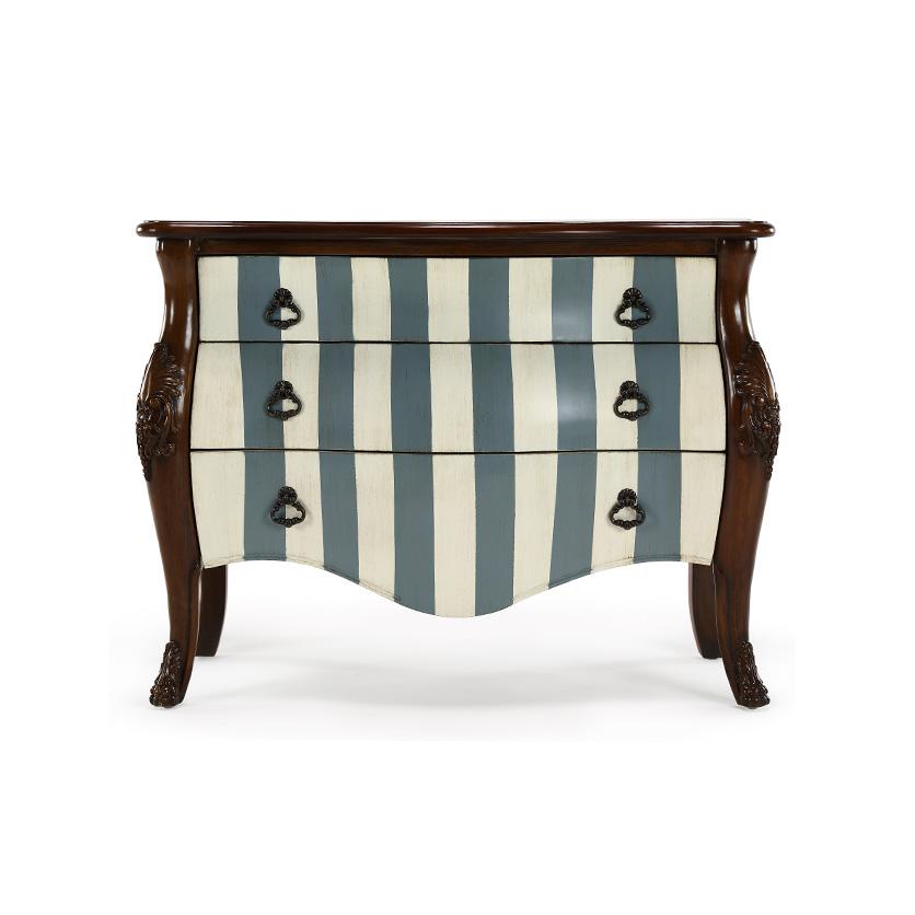 木+条纹色三斗柜