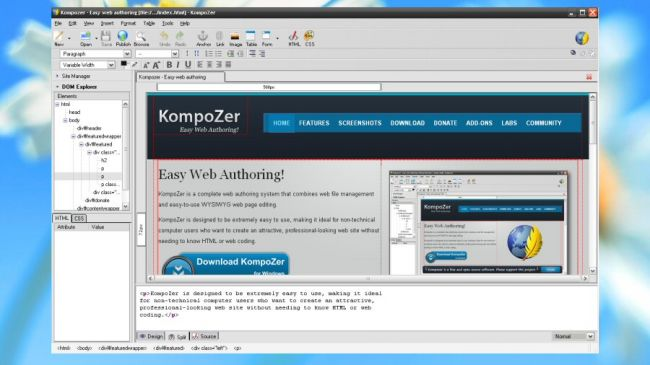 diseño web con kompozer