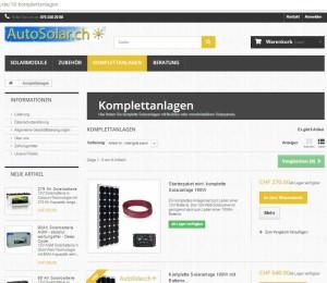 Solarkomplettanlagen gibt es immer billiger (Bildschirmfoto: Autosolar.ch)