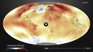 Image of global map showing temperature since 1880; click to watch animation.