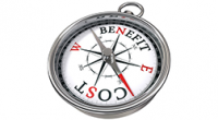 """The words """"cost"""" and """"benefit"""" on two different sides of a compass, with the compass needle pointing closest to the word """"cost."""""""