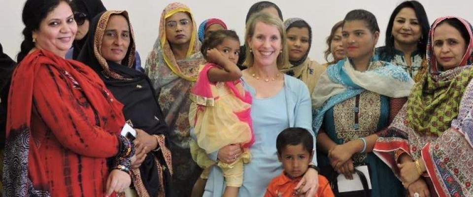 U.S. Consul General Grace W. Shelton with a group of women
