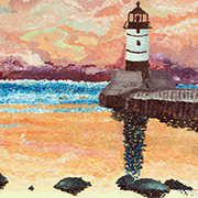 'Lake Superior Lighthouse' painting by Minnesota artist Kourtney Hammerschmidt