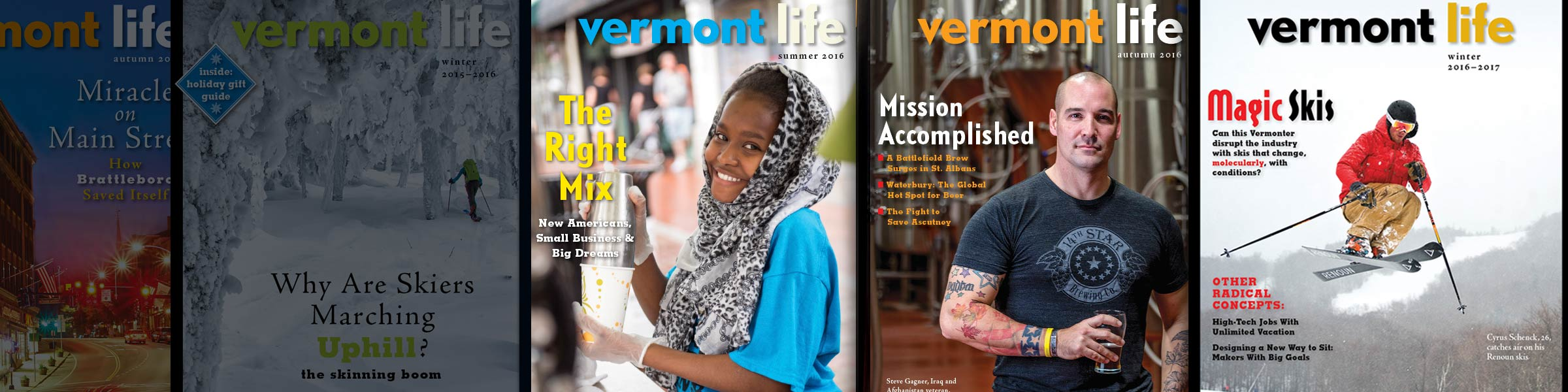 Vermont Life Magazine Covers, with the Winter 2016-2017 edition.