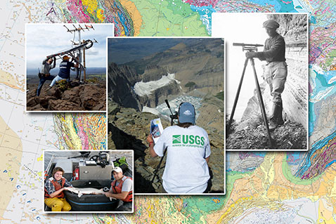 Geologic map of North America, topographer running level line, USGS scientist photographer, staff installing solar panel for seismic monitoring network, researchers hold pallid sturgeon