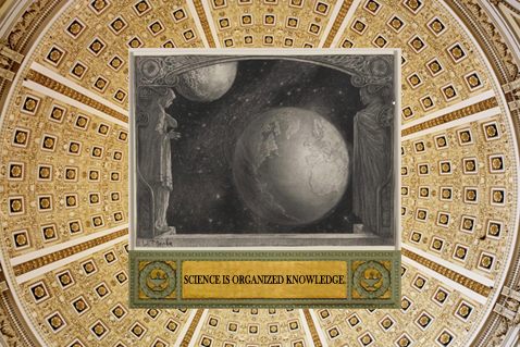 Thomas Jefferson Building, Great Hall and Interior Dome, Benda's painting The Earth with the Milky Way and Moon from Prints and Photographs Collection, words Science is Organized Knowledge