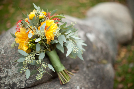 Bride's bouquet in green, orange and yellow