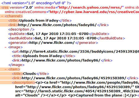 Flickr RSS feed source view