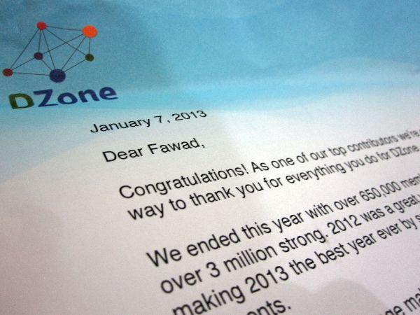 DZone's Letter of Congrats