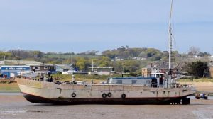 """""""Newclose"""" stuck on sandbank on the way in. She is now located on Selwyn pontoon."""