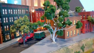 Miniature trees on HO Layout