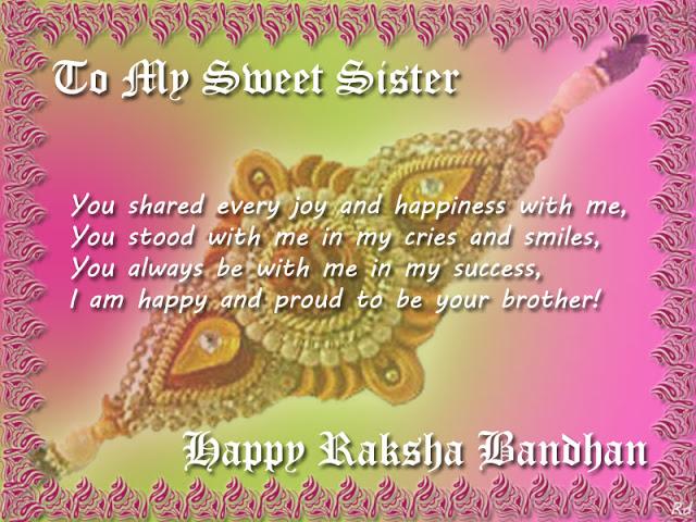 Raksha bandhan SMS for Sister in English
